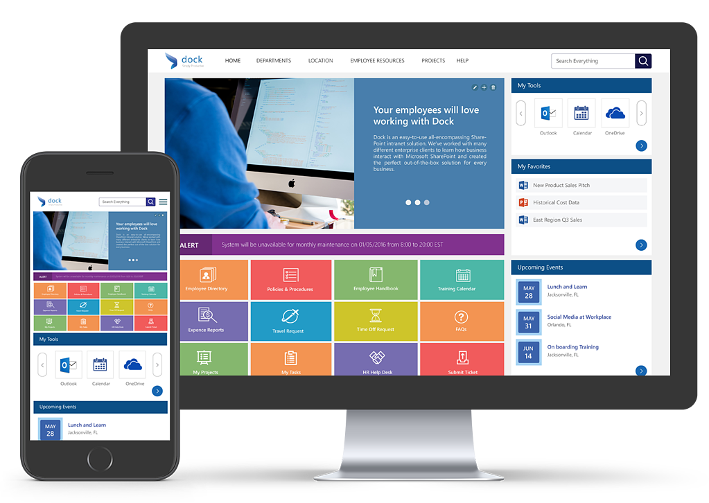 Best sharepoint intranet portal dock intranet customizable intranet home page pronofoot35fo Choice Image