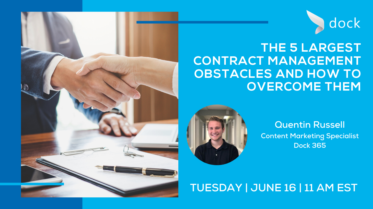Free Webinar - The 5 largest contract management obstacles and how to overcome them